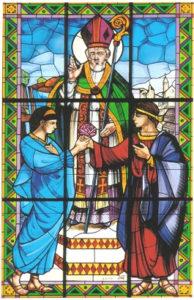 Saint Valentine of Terni uniting in marriage love Sabino and Serapia Basilica di San Valentino, Terni, Italy